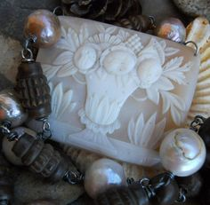 Buttercup    Antique Floral Urn Cameo Pearl by HappyMoonDesigns