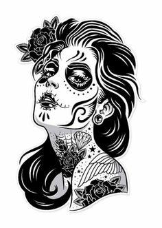 """Lady Sugar Skull Decal - Day of the Dead Sticker - Size 3.2"""" x 4.5"""" NEW, http://www.amazon.com/dp/B00F8JC7KE/ref=cm_sw_r_pi_awdm_LH5rtb13NB2Y3"""