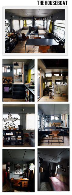 The houseboat @ la tazzina blu Mini Loft, Barge Boat, Caravan Living, Water House, Canal Boat, Tug Boats, Tiny House Movement, Dutch Barge, Boat Design
