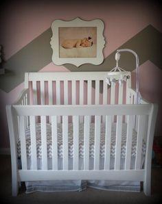 Grey and Pink Baby Nursery Crib