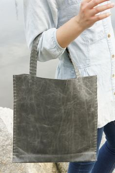 New Markdown - Leather Tote - Hand Stitched - Grey. Etsy. Stitching Leather e580a1b1ddd7c