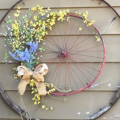 Spring bicycle rim wreath Bicycle Wheel Decor, Bicycle Rims, Bike Wheel, Easter Wreaths, Holiday Wreaths, Diy Backdrop, Backdrops, Diy Wreath, Door Wreaths