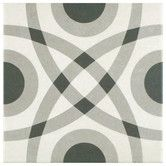 """Found it at Wayfair - Forties 7.75"""" x 7.75"""" Ceramic Floor and Wall Tile in Circle White and Gray"""