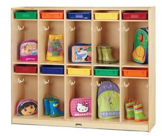 Jonti-Craft Take Home Center with Clear Paper-Trays - The Take Home Center features ten locker sections, each with a Paper-tray slot. Excellent for organizing messages and homework. Two double hooks in each locker are perfect for hanging book bags, jacke Preschool Cubbies, Preschool Classroom, Kindergarten, Daycare Cubbies, Daycare Storage, Preschool Decor, Preschool Furniture, Classroom Furniture, Classroom Decor