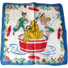 Vintage Walt Disney Productions Childs Hankie - Peter Pan, Tinker Bell, and Pluto