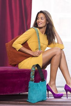 "Katie Kalsi Purse                Suede ""Sadie"" in jade, 215.00  Suede ""Melissa"" in rust, 250.00  Each bag features two hand painted leather straps   @belk @2shoppermoms"