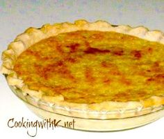 Cooking with K | Southern Kitchen Happenings: Pineapple Chess Pie {Granny's Recipe}