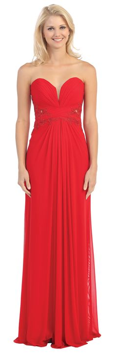 Sweetheart Bodice Strapless Long Red A Line Formal Gown