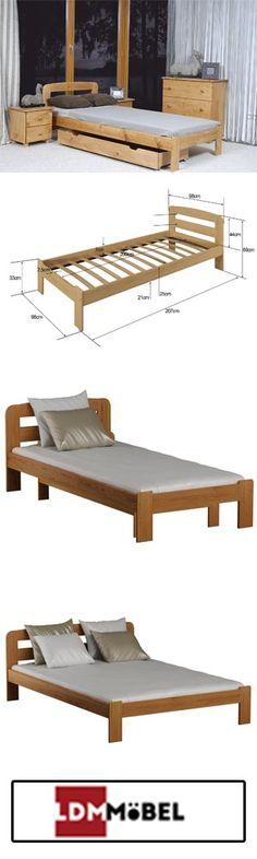 Warme Farben schaffen Wohlbefinden 🙂🙂 In Kombination mit anderen Schlafzimmermöbeln kommt das Bett in Erle besonders gut zur Geltung.   #Kieferbett #Massivholz #Einzelbett #BettmitLattenrost