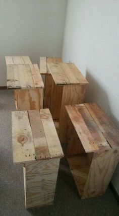 Box drawers with pallet board faces.