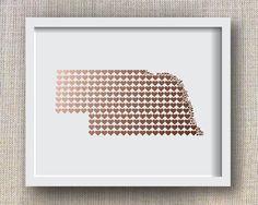 Valentine's Day Copper Nebraska Art Print, Faux Copper State Art Print - State Hearts, Nebraska Hearts | Etsy