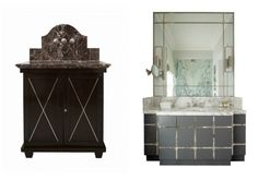 Examples of traditionally restrained and more glamorous vanity unit designs by Justin Van Breda
