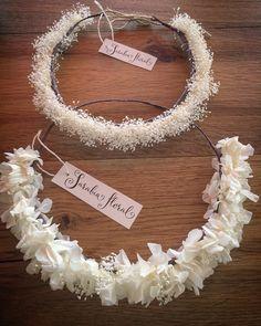 Coronitas de flor preservada para novia.