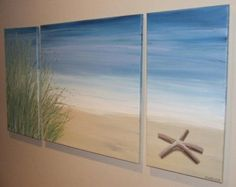 Items similar to Starfish Beach Sand Dune - Original Seascape Canvas Painting by Stephanie on Etsy Beach Canvas, Beach Art, Canvas Art, Ocean Beach, Ocean Canvas, Blue Beach, Art Plage, Beach Crafts, Beach Themes