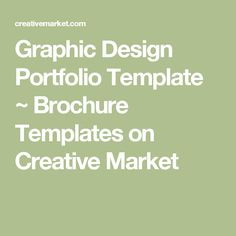 Graphic Design Portfolio Template ~ Brochure Templates on Creative Market