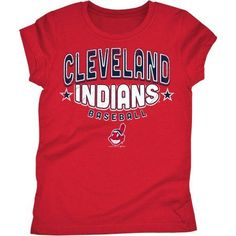 Cleveland Indians Girls Short Sleeve Graphic Tee, Size: 6/6X, Red