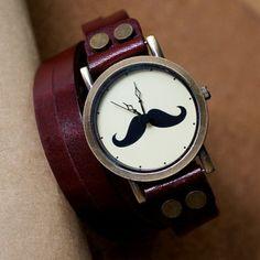 Leather Wrap Watch, Women Watch, Mustache Bracelet Watch