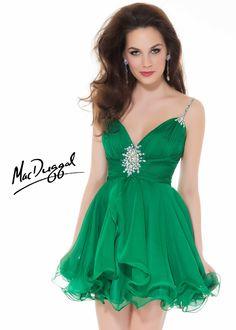7fa6bf510ce7c Mac Duggal 6399N Ruffled Emerald Green Cocktail Dress Emerald Green Cocktail  Dress
