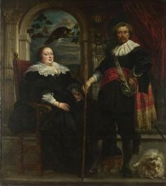 Portrait of Govaert van Surpele (?) and His Wife - Jacob Jordaens.  1636-38.  Oil on canvas.  213.3 x 189 cm.  The National Gallery, London, UK.