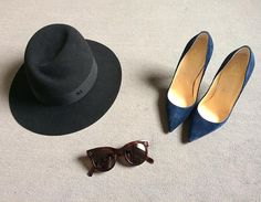 Maison Michel Virginie hat, Louboutin So Kate pumps & Céline Baby Audrey sunglasses