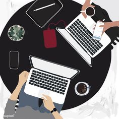 People working on laptops in a cafe Stock Photo , Free Vector Illustration, Free Illustrations, Vector Art, Illustration Art, Free Design, Your Design, Use E Abuse, Mode Shop, Design Projects