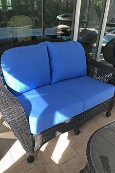 Blog Patio Chair And Ottoman Cushions Upgraded With Bright Sunbrella Canvas Capri