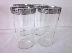 Mid Century Glasses or Tumblers, Silver or Platinum Edge, European Barware, Vintage, Art Deco