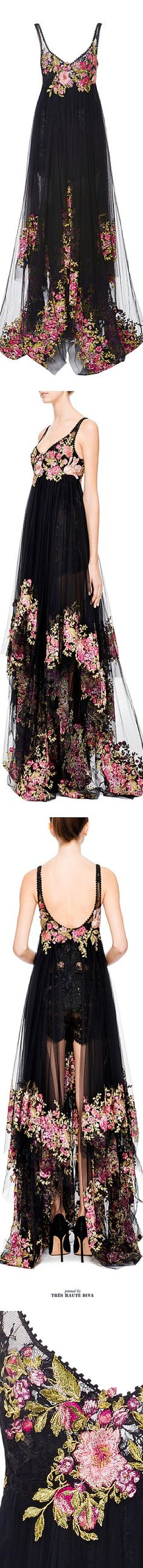 Black and floral Marchesa gown.