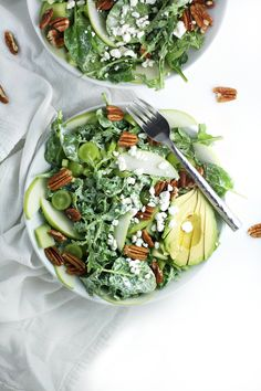 Spinach Apple Salad with Coconut Lemon Dressing