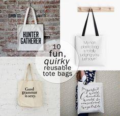 fun, quirky reusable tote bags
