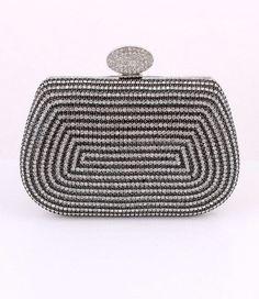 Black and White Crystal Rhinestone evening clutch by JPoliseno, $90.00