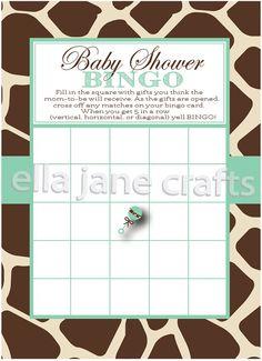 Giraffe and Mint Baby Shower Bingo PDF Instant by EllaJaneCrafts, $5.00