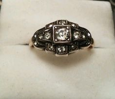 Vintage Art Deco 12k Gold-Filled Y/W Rhinestone Engagement Ring