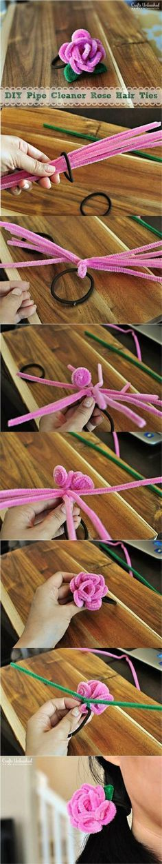 Hair ties made with diy pink pipe cleaner roses diy craft idea girl gift . Flower Crafts, Diy Flowers, Fabric Flowers, Cute Crafts, Crafts To Make, Easy Crafts, Diy For Kids, Crafts For Kids, Arts And Crafts