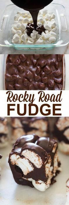 Great-grandma's amazing Rocky Road Fudge recipe is just four simple ingredients and a chocolate marshmallow lover's dream! We love this easy, no-bake dessert recipe. Fudge Flavors, Fudge Recipes, Candy Recipes, Baking Recipes, Dessert Recipes, Dessert Ideas, Delicious Recipes, Healthy Recipes, Desserts To Make