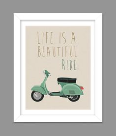Vespa Tan Color Life is a Beautiful Ride scooter by dotsonthewall, $6.00
