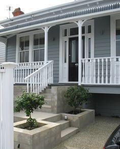 Terrazas Exterior Baratas - - Exterior Paint Colors For House - Colonial Exterior Shutters Exterior Paint Colors For House, Paint Colors For Home, Exterior Colors, Exterior Design, Paint Colours, Siding Colors, Weatherboard Exterior, Grey Exterior, Cottage Exterior