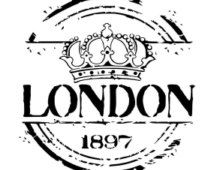Londres real corona plantilla Vintage / primitivo