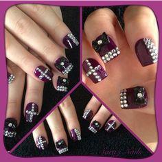 Hard Rock Nails by Sara J and surmanti.  www.surmanti.co.nz. #surmanti, #sarajnails, #manicure, #nails, #nailart, #diamante, #hardrock, #rockchick.