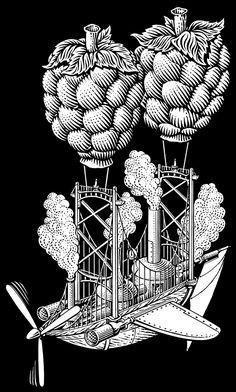 Scratchboard Drawings for Steamworks Beer Labels by Michael Halbert, via Behance