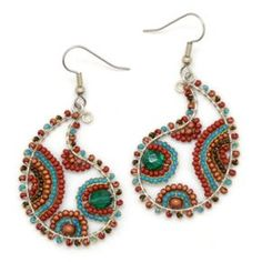 Beaded Paisley Wire Earrings