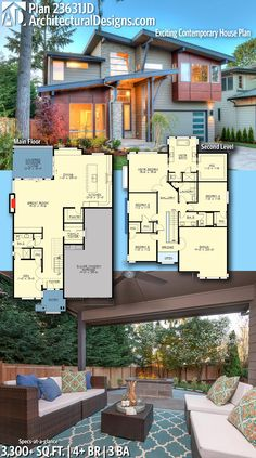 Trendy Ideas For Modern House Plans : – Picture : – Description Architectural Designs Modern House Plan This home gives you beds, 3 baths and over sq. of heated living space. Where do YOU want to build? Contemporary House Plans, Modern House Plans, Modern Floor Plans, Dream House Plans, House Floor Plans, Building Plans, Building A House, House Blueprints, Sims House