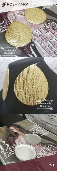 Gold Glitter Earrings 2.75 in long Gold glitter Jewelry
