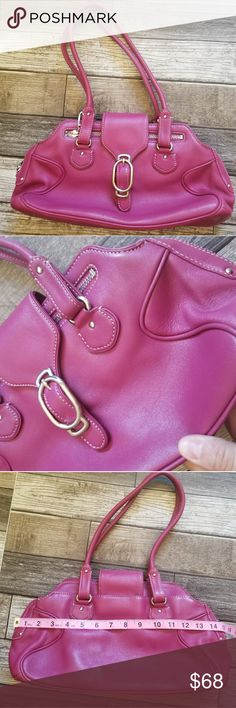 COLE HAAN Alexa F04 Bright pink/fuschia leather bag zip closure with decorative buckle flap. Silver toned hardware. Great condition Cole Haan Bags Shoulder Bags