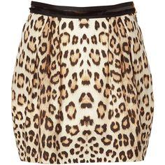 ROBERTO CAVALLI Beige Leopard Print Skirt (290 AUD) ❤ liked on Polyvore featuring skirts, mini skirts, bottoms, saias, faldas, leopard print mini skirt, leopard skirt, brown skirt, cotton skirt and beige mini skirt