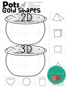 March Math - 2D or 3D shapes Kindergarten St Patrick's Day No prep Pack Math and ELA