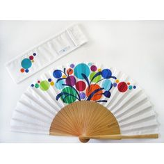 """Items similar to Spanish hand fan painted with matching sheath """"Party"""" on Etsy Painted Fan, Hand Painted, Hand Held Fan, Hand Fans, Fabric Dolls, Etsy, Art Projects, Diy And Crafts, Cover"""
