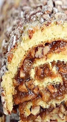 Pecan pie filling rolled into a light sponge cake make this pecan pie cake roll a perfect Thanksgiving dessert. Pecan Pie Cake, Pecan Pie Filling, Pecan Recipes, Baking Recipes, Sweet Recipes, Cake Roll Recipes, Dessert Recipes, Just Desserts, Delicious Desserts