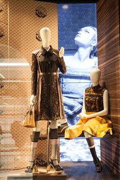 "PRADA, Via Sant'Andrea, Milan, Italy,""We didn't change a lot Belinda this time from last month's window-display,we added some wallpaper and we added a photograph with a girl looking at the ceiling"", pinned by Ton van der Veer"