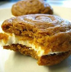 Cream Cheese Filling for Pumpkin Cookies  Beat: 1 - 8 oz. pkg cream cheese, softened 1 stick of unsalted butter, room temp Add: 1 - 16 oz. pkg icing sugar capful vanilla extract pinch cinnamon (to taste)  Frost flat side of half the pies and top each  with a second cookie.